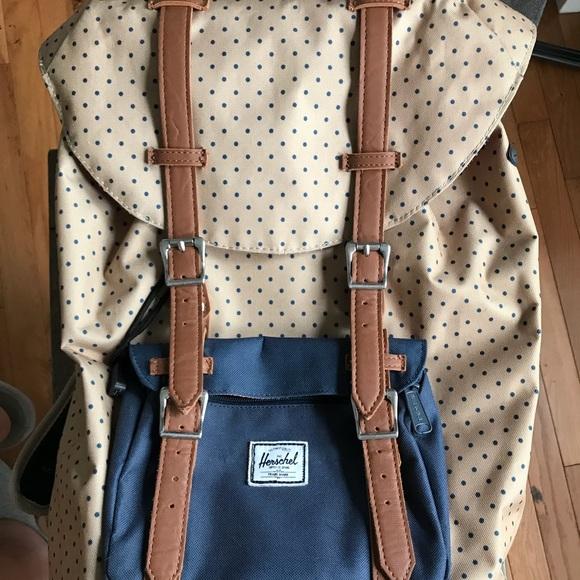 c442d35ee0 Handbags - Herschel Beige and Navy Polka Dot Backpack